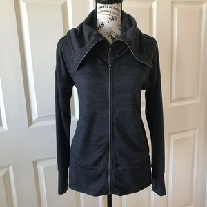 Athleta Gray Zip Up Cowl Neck Pocket Sweat…